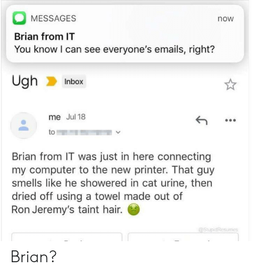 cat urine: MESSAGES  now  Brian from IT  You know I can see everyone's emails, right?  Ugh  Inbox  me Jul 18  to  Brian from IT was just in here connecting  my computer to the new printer. That guy  smells like he showered in cat urine, then  dried off using a towel made out of  Ron Jeremy's taint hair.  (aStupidResurnes Brian?