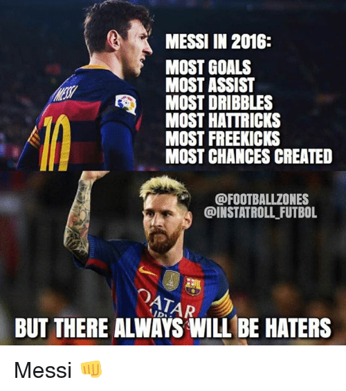 Memes, Goal, and Messi: MESSI IN 2016  MOST GOALS  MOST ASSIST  MOST DRIBBLES  MOST HATTRICKS  MOST FREE KICKS  MOST CHANCES CREATED  @FOOTBALLZONES  @INSTATROLL FUTBOL  ATAR  BUT THERE ALINAYS WILL BE HATERS Messi 👊