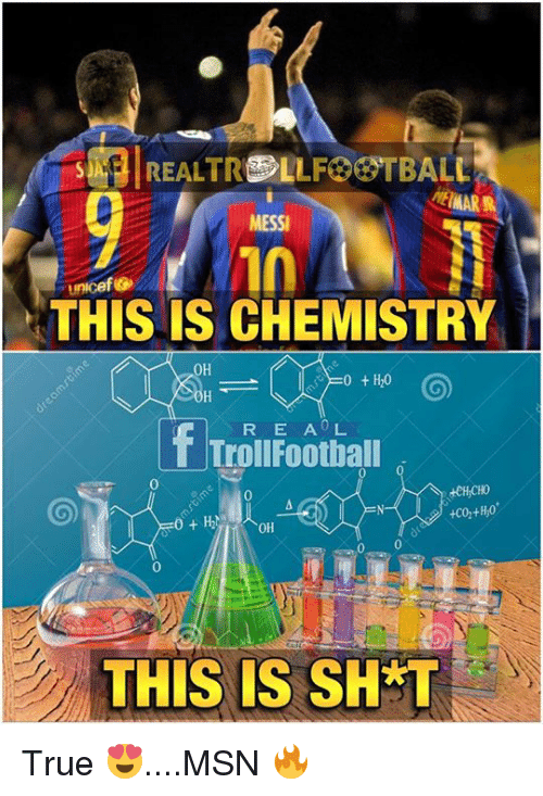 Football, Memes, and Troll: MESSI  Unicef Go  THIS IS CHEMISTRY  0H  0 H20  f R E A L  Troll Football  0 0  THIS IS SH T True 😍....MSN 🔥