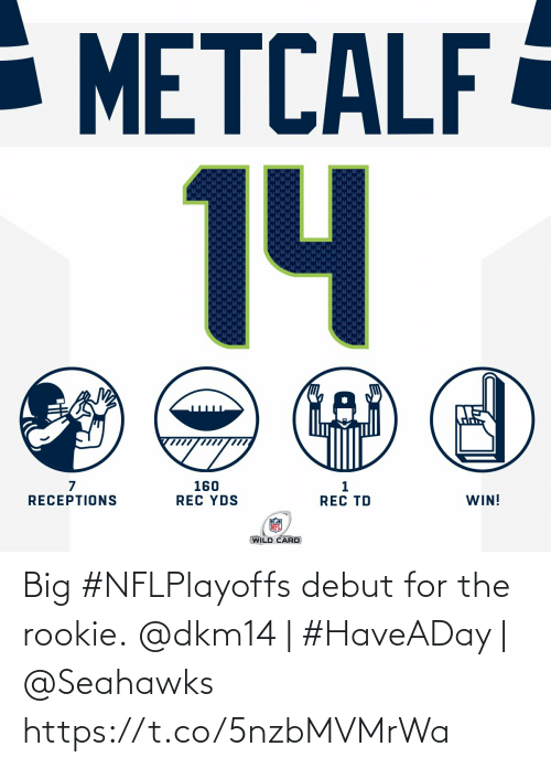 Rookie: - METCALF  14  160  REC YDS  WIN!  RECEPTIONS  REC TD  WILD CARD Big #NFLPlayoffs debut for the rookie.  @dkm14 | #HaveADay | @Seahawks https://t.co/5nzbMVMrWa