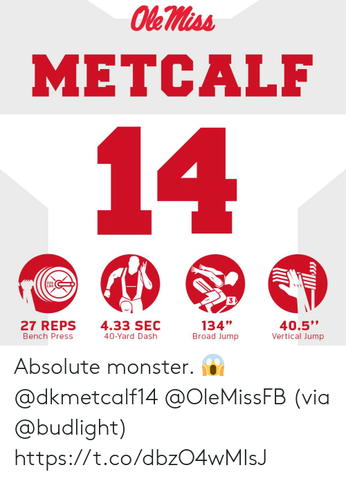 "reps: METCALF  225  LBS  3  27 REPS  Bench Press  4.33 SEC  40-Yard Dash  134""  Broad Jump  40.5""  Vertical Jump Absolute monster. 😱@dkmetcalf14 @OleMissFB   (via @budlight) https://t.co/dbzO4wMIsJ"