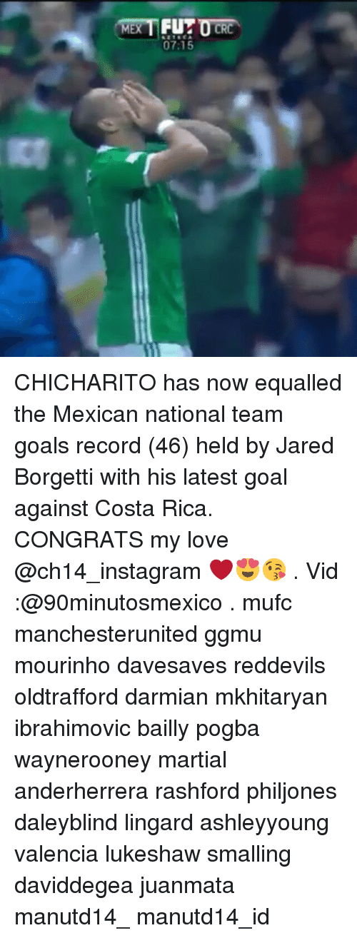 Memes, 🤖, and Team: MEX  FUT  07:15 CHICHARITO has now equalled the Mexican national team goals record (46) held by Jared Borgetti with his latest goal against Costa Rica. CONGRATS my love @ch14_instagram ❤😍😘 . Vid :@90minutosmexico . mufc manchesterunited ggmu mourinho davesaves reddevils oldtrafford darmian mkhitaryan ibrahimovic bailly pogba waynerooney martial anderherrera rashford philjones daleyblind lingard ashleyyoung valencia lukeshaw smalling daviddegea juanmata manutd14_ manutd14_id