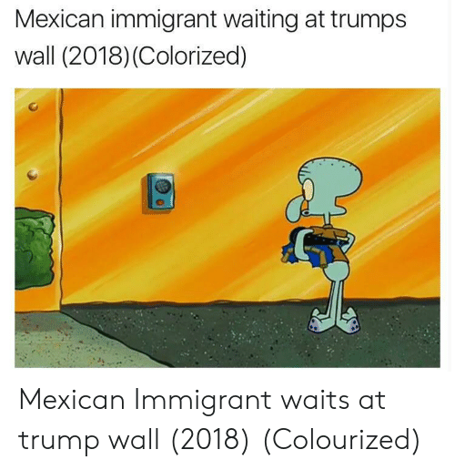 Trumps Wall: Mexican immigrant waiting at trumps  wall (2018) (Colorized) Mexican Immigrant waits at trump wall (2018) (Colourized)