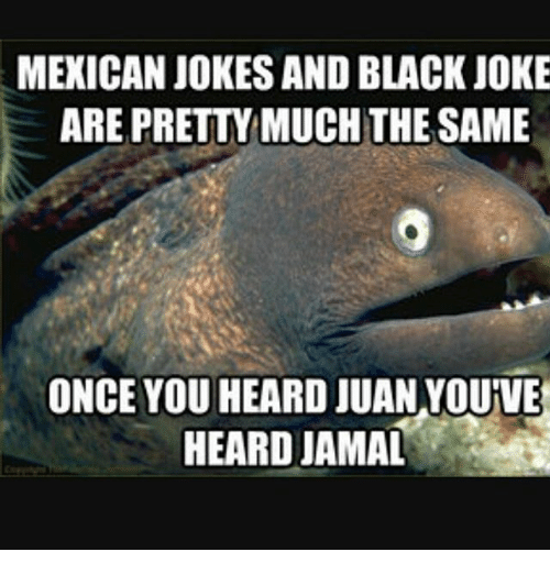 Mexicans Jokes: MEXICAN JOKES AND BLACK JOKE  ARE PRETTY MUCH THE SAME  ONCE YOU HEARD JUAN VOUVE  HEARD JAMAL