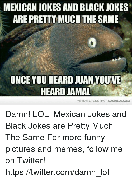 mexican jokes: MEXICAN JOKES AND BLACK JOKES  ARE PRETTY MUCH THE SAME  ONCE YOU HEARD JUAN YOUVE  HEARD JAMAL  WE LOVE U LONG TIME: DAMNLOLCOM Damn! LOL: Mexican Jokes and Black Jokes are Pretty Much The Same For more funny pictures and memes, follow me on Twitter! https://twitter.com/damn_lol