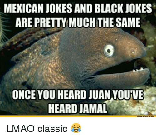 mexican jokes: MEXICAN JOKES AND BLACK JOKES  ARE PRETTYMUCHTHE SAME  ONCE YOU HEARD JUAN YOUIVE  HEARD JAMAL LMAO classic 😂