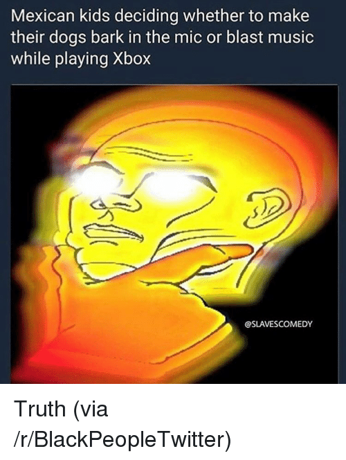 Blackpeopletwitter, Dogs, and Music: Mexican kids deciding whether to make  their dogs bark in the mic or blast music  while playing Xbox  @SLAVESCOMEDY <p>Truth (via /r/BlackPeopleTwitter)</p>