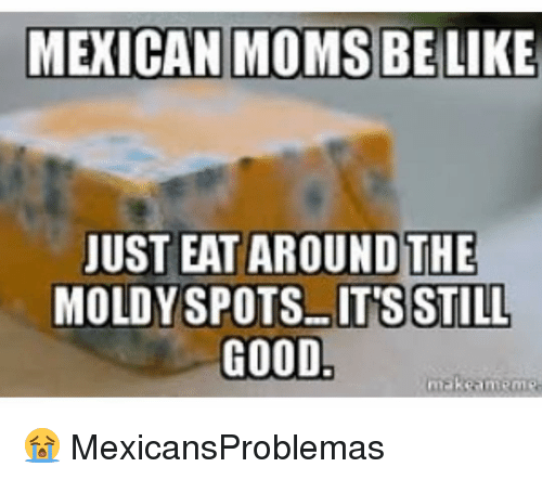 Making Meme: MEXICAN MOMS BE  LIKE  JUST EAT AROUND THE  MOLDY SPOTS-ITS STILL  GOOD  make meme 😭 MexicansProblemas