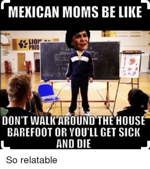 Moms Be Like: MEXICAN MOMS BE LIKE  LION  PRID  DON'T WALK AROUND THE HOUSE  BAREFOOT OR YOU'LL GET SIcK  AND DIE So relatable