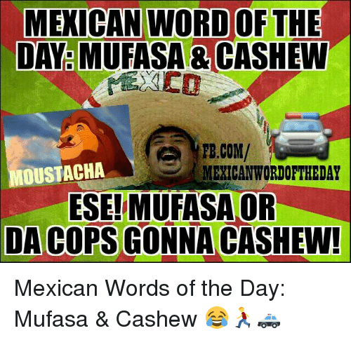 Mexican Word: MEXICAN NORD OF THE  DAY MUFASA CASHEW  FB.COM/  OUSTACHA  MEXICAN WORDOFTHEDAY  ESE!MUFASA OR  DA COPS GONNA CASHEW! Mexican Words of the Day: Mufasa & Cashew 😂🏃🚓