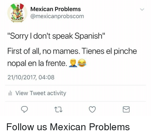 """Memes, Sorry, and Spanish: Mexican Problems  @mexicanprobscom  """"Sorry I don't speak Spanish""""  First of all, no mames. Tienes el pinche  nopal en la frente.  21/10/2017, 04:08  ill View Tweet activity Follow us Mexican Problems"""