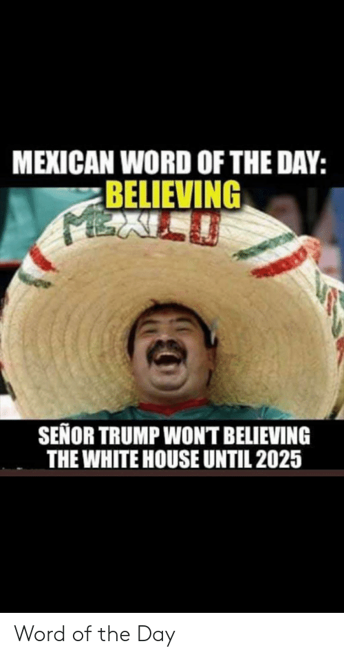 White House, House, and Trump: MEXICAN WORD OF THE DAY:  BELIEVING  SEÑOR TRUMP WONT BELIEVING  THE WHITE HOUSE UNTIL 2025 Word of the Day