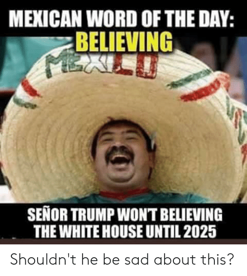 Mexican Word of the Day: MEXICAN WORD OF THE DAY:  BELIEVING  SENOR TRUMP WONT BELIEVING  THE WHITE HOUSE UNTIL 2025 Shouldn't he be sad about this?