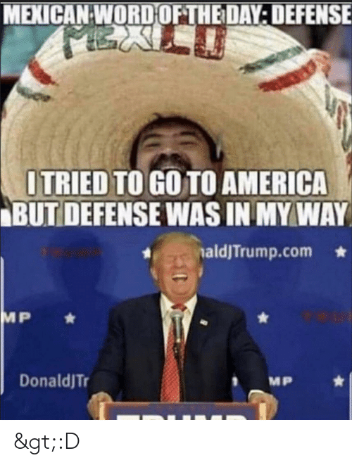 America, Word, and Mexican Word of the Day: MEXICAN WORD OF THE DAY: DEFENSE  ITRIED TO GO TO AMERICA  BUT DEFENSE WAS IN MY WAY  naldJTrump.com  MP  DonaldJTr  MP >:D
