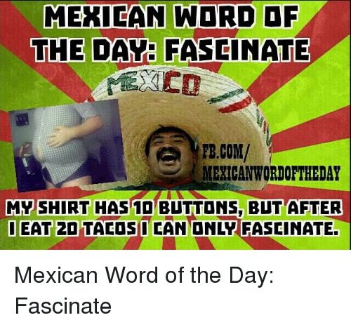 Mexican Word: MEXICAN WORD OF  THE DAY: FASCINATE  FB.COM/  MEXICAN WORDOFTHEDAY  MY SHIRT HAS BLTTONS, BUT AFTER  OEAT 2DTACOS I CAN ONLY FASCINATE. Mexican Word of the Day: Fascinate