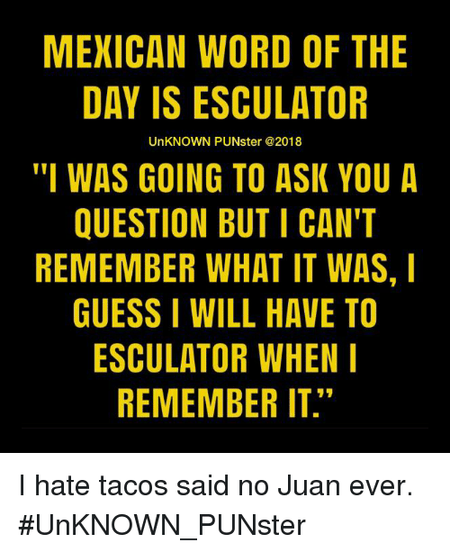 """Said No Juan Ever: MEXICAN WORD OF THE  DAY IS ESCULATOR  UnKNOWN PUNster @2018  """"I WAS GOING TO ASK YOU A  QUESTION BUT I CAN'T  REMEMBER WHAT IT WAS, I  GUESS I WILL HAVE TO  ESCULATOR WHEN  REMEMBER IT."""" I hate tacos said no Juan ever.   #UnKNOWN_PUNster"""