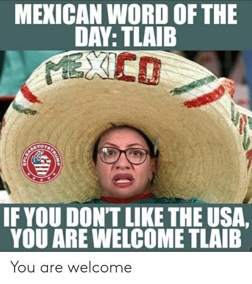 Mexico, Word, and Mexican Word of the Day: MEXICAN WORD OF THE  DAY: TLAIB  MEXICO  IF YOU DON'T LIKE THE USA,  YOU ARE WELCOME TLAIB  BETAUNA You are welcome
