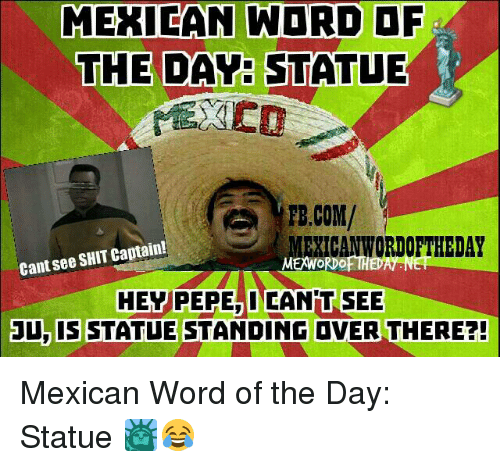 Mexican Word: MEXICAN WORD  THE DAY STATUE  PB.COM/  EXICANWORDOFTHEDAY  Cant see SHIT Captain!  MEWORDOFTH  HEY PEPE INCANPIT SEE  3U, IS STATUE STANDING DVER THERE?! Mexican Word of the Day: Statue 🗽😂