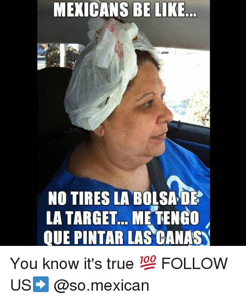 Mexicans Be Like: MEXICANS BE LIKE  NO TIRES LA BOLSA DE  LA TARGET... ME TENGO  QUE PINTAR LAS CANAS You know it's true 💯 FOLLOW US➡️ @so.mexican