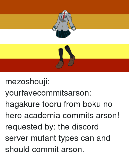 mutant: mezoshouji: yourfavecommitsarson:   hagakure tooru from boku no hero academia commits arson! requested by: the discord server   mutant types can and should commit arson.