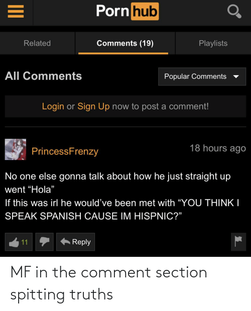 Comment, Spitting, and The: MF in the comment section spitting truths