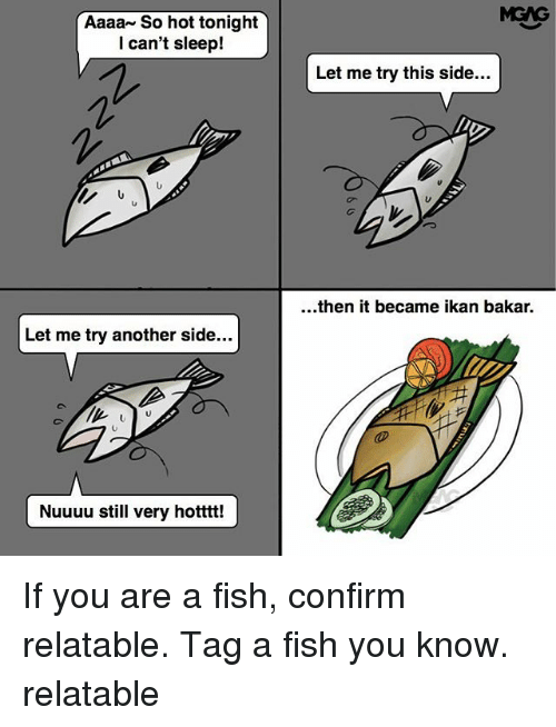 Memes, Fish, and Relatable: MGAG  Aaaa~ So hot tonight  l can't sleep!  Let me try this side...  ...then it became ikan bakar.  Let me try another side..  ar  Nuuuu still very hotttt! If you are a fish, confirm relatable. Tag a fish you know. relatable