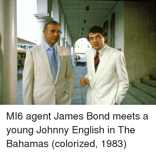 the bahamas: MI6 agent James Bond meets a young Johnny English in The Bahamas (colorized, 1983)
