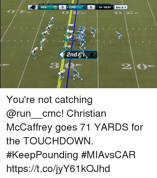 Memes, Run, and 🤖: MIA  0  0  1ST 10:31  2ND & 1  2nd  2 You're not catching @run__cmc!  Christian McCaffrey goes 71 YARDS for the TOUCHDOWN. #KeepPounding  #MIAvsCAR https://t.co/jyY61kOJhd