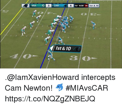 Cam Newton: MIA  3  CAR  6  51ST 4:35 09  1ST & 10  1st & 10 .@IamXavienHoward intercepts Cam Newton! 🐬  #MIAvsCAR https://t.co/NQZgZNBEJQ