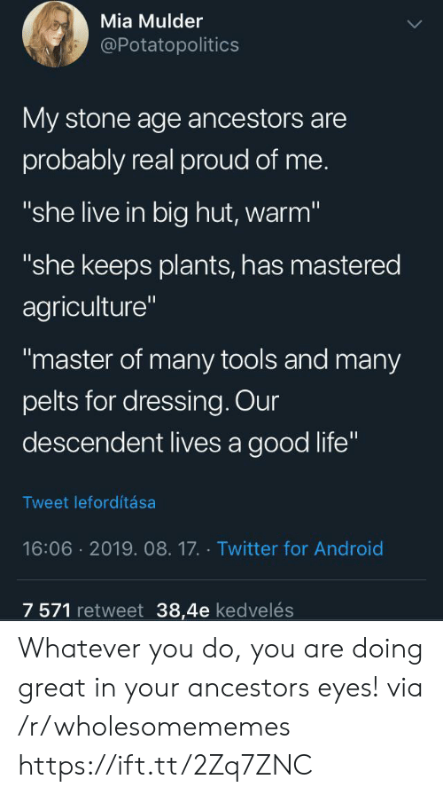 "dressing: Mia Mulder  @Potatopolitics  My stone age ancestors are  probably real proud of me.  ""she live in big hut, warm""  ""she keeps plants, has mastered  agriculture""  ""master of many tools and many  pelts for dressing. Our  descendent lives a good life""  Tweet lefordítása  16:06 2019. 08.17. Twitter for Android  7 571 retweet 38,4e kedvelés Whatever you do, you are doing great in your ancestors eyes! via /r/wholesomememes https://ift.tt/2Zq7ZNC"