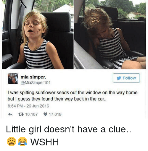 Sunflower Seed: mia simper.  Follow  @Miasim per 101  I was spitting sunflower seeds out the window on the way home  but I guess they found their way back in the car.  8:54 PM 26 Jun 2016  10,187 17,019 Little girl doesn't have a clue.. 😫😂 WSHH