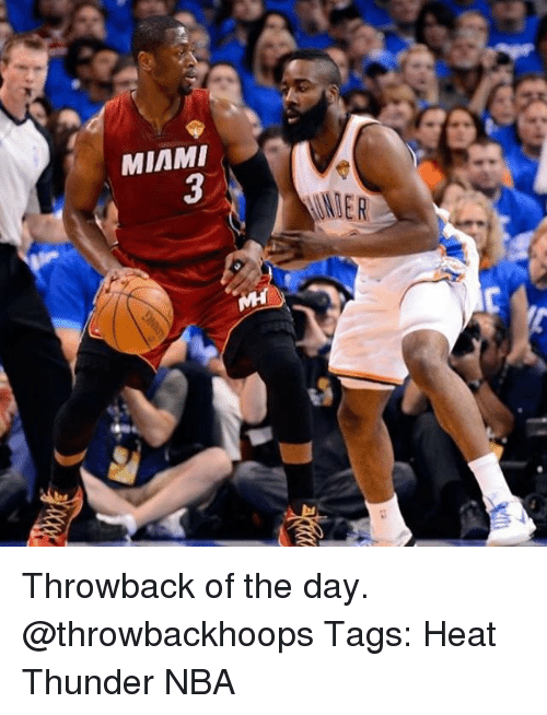 Memes, Nba, and Heat: MIAMI  3 Throwback of the day. @throwbackhoops Tags: Heat Thunder NBA