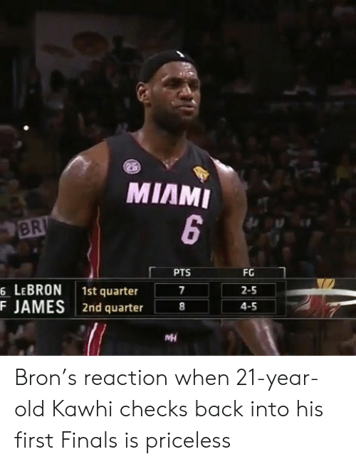 bron: MIAMI  BR  PTS  FG  6 LEBRON 1st quarter  F JAMES 2nd quarter8  2-5  4-5 Bron's reaction when 21-year-old Kawhi checks back into his first Finals is priceless