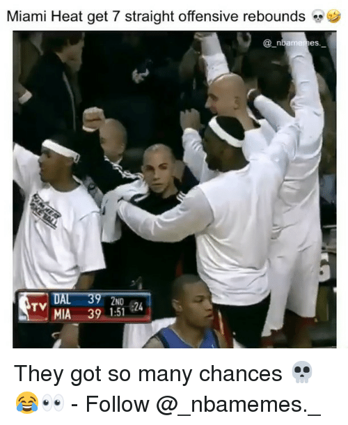 Miami Heat: Miami Heat get 7 straight offensive rebounds  @_n  bameres  DAL 39 2ND  MIA 391-51 24  TV They got so many chances 💀😂👀 - Follow @_nbamemes._