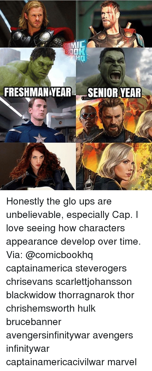 Senioritis: MIC  FRESHMANYEAR SENIOR YEAR Honestly the glo ups are unbelievable, especially Cap. I love seeing how characters appearance develop over time. Via: @comicbookhq captainamerica steverogers chrisevans scarlettjohansson blackwidow thorragnarok thor chrishemsworth hulk brucebanner avengersinfinitywar avengers infinitywar captainamericacivilwar marvel