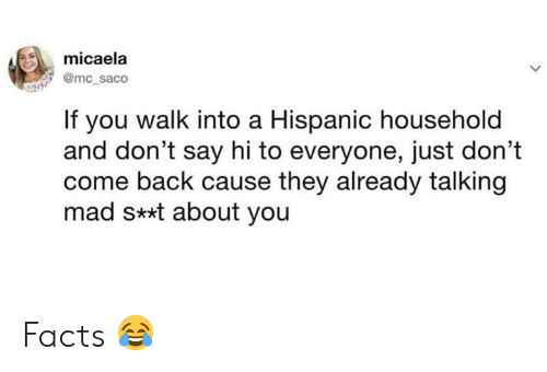 hispanic: micaela  @mc_saco  If you walk into a Hispanic household  and don't say hi to everyone, just don't  come back cause they already talking  mad s**t about you Facts 😂