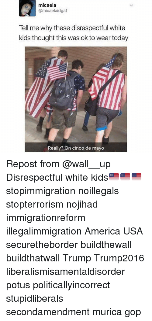 America, Memes, and Cinco De Mayo: micaela  @micaelaidgaf  Tell me why these disrespectful white  kids thought this was ok to wear today  Really? On cinco de mayo Repost from @wall__up Disrespectful white kids🇺🇸🇺🇸🇺🇸 stopimmigration noillegals stopterrorism nojihad immigrationreform illegalimmigration America USA securetheborder buildthewall buildthatwall Trump Trump2016 liberalismisamentaldisorder potus politicallyincorrect stupidliberals secondamendment murica gop