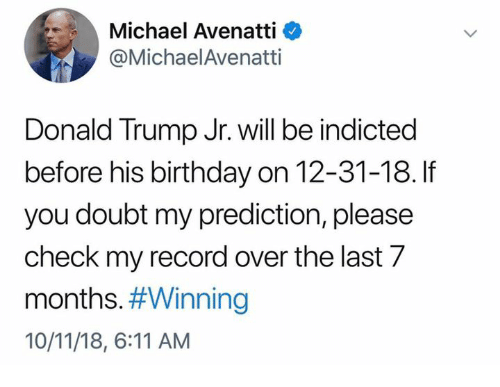Prediction: Michael Avenatti <  @MichaelAvenatti  Donald Trump Jr. will be indicted  before his birthday on 12-31-18. If  you doubt my prediction, please  check my record over the last 7  months#Winning  10/11/18, 6:11 AM