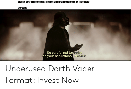 """Be Careful Not To Choke On Your Aspirations: Michael Bay: """"Transformers: The Last Knight will be followed by 14 sequels.""""  Everyone:  Be careful not to choke  on your aspirations, Director. Underused Darth Vader Format: Invest Now"""