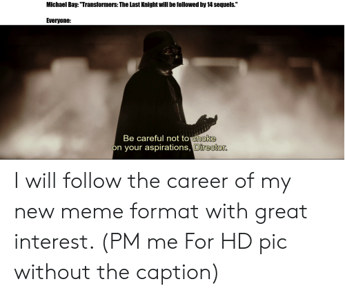 """Be Careful Not To Choke On Your Aspirations: Michael Bay: """"Transformers: The Last Knight will be followed by 14 sequels.""""  Everyone:  Be careful not to choke  on your aspirations, Director. I will follow the career of my new meme format with great interest. (PM me For HD pic without the caption)"""