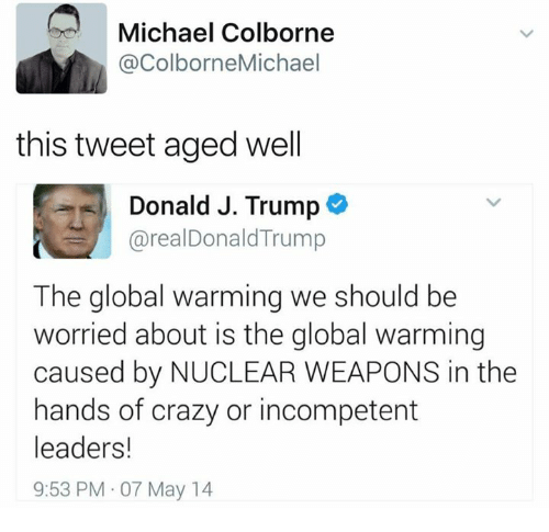 Donald Trump, Global Warming, and Memes: Michael Colborne  @ColborneMichael  this tweet aged well  Donald J. Trump  areal Donald Trump  The global warming we should be  worried about is the global warming  caused by NUCLEAR WEAPONS in the  hands of crazy or incompetent  leaders!  9:53 PM 07 May 14