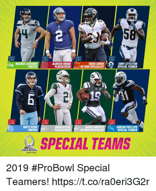 Rosas: MICHAEL DICKSONALDRICK ROSAS  TARIK COHEN  PLACEKICKER-- RETURN SPECIALIST  CORY LITTLETON  SPECIAL TEAMER  PUNTER  。 n  ITRNS  BRETT KERN  PUNTER  JASON MYERS  PLACEKICKER  ANDRE ROBERTS  RETURN SPECIALIST  ADRIAN PHILLIPS  SPECIAL TEAMER  TS  TS  SPECIAL TEAMS  PRO BOWL  ORL  ANDO 2019 2019 #ProBowl Special Teamers! https://t.co/ra0eri3G2r