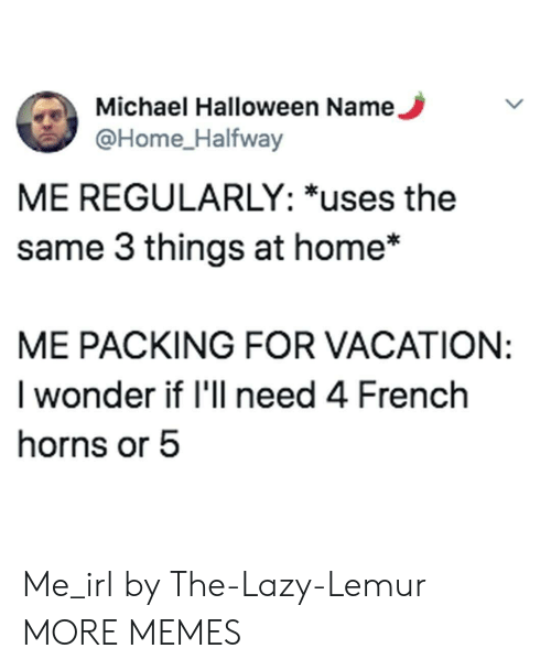 Vacation: Michael Halloween Name.  @Home_Halfway  ME REGULARLY: *uses the  same 3 things at home*  ME PACKING FOR VACATION:  I wonder if 'll need 4 French  horns or 5 Me_irl by The-Lazy-Lemur MORE MEMES