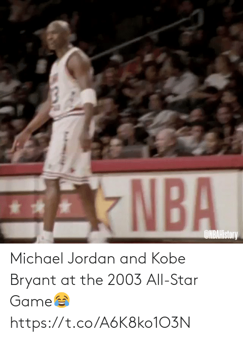 All Star: Michael Jordan and Kobe Bryant at the 2003 All-Star Game😂 https://t.co/A6K8ko1O3N