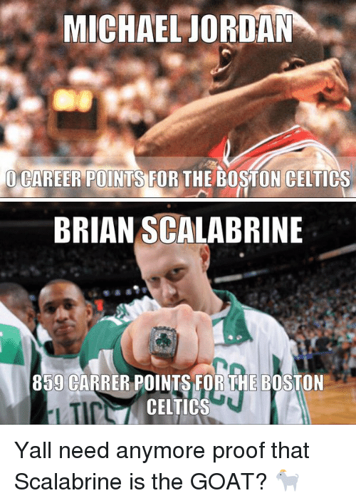Celtic: MICHAEL JORDAN  CAREER POINTS FOR THE BOSTON CELTICS   BRIAN SCALABRINE  859 CARRER POINTS FOR THE BOSTON  CELTICS Yall need anymore proof that Scalabrine is the GOAT? 🐐