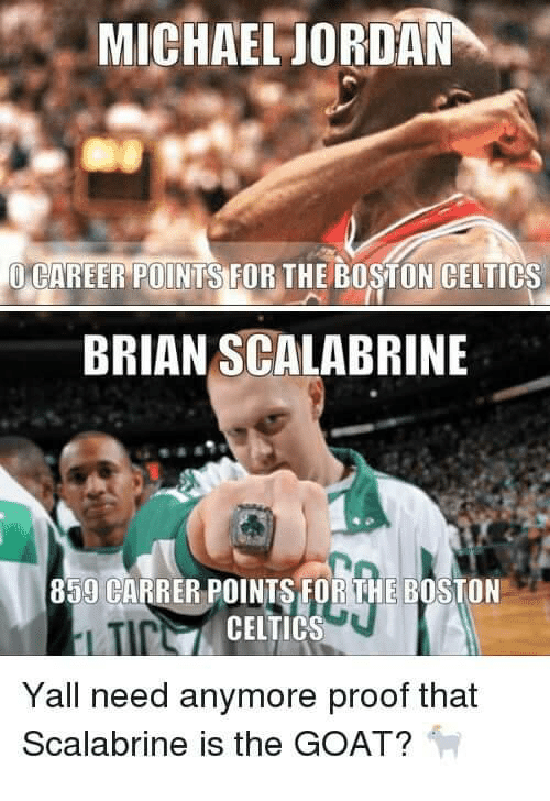 Celtics: MICHAEL JORDAN  CAREER POINTSTUR THE BOSTON CELTICS  BRIAN SCALABRINE  859 CARRER POINTS FOR THE BOSTON  N CELTICS  Yall need anymore proof that  Scalabrine is the GOAT?
