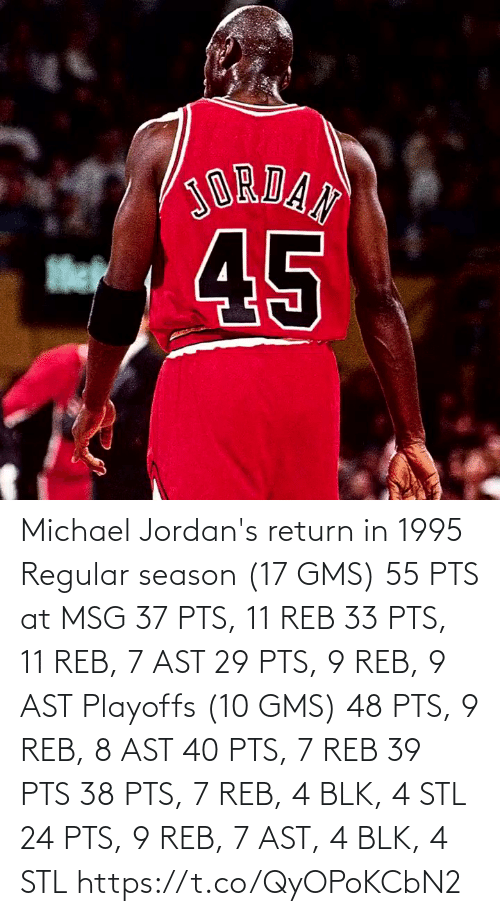 season 17: Michael Jordan's return in 1995  Regular season (17 GMS) 55 PTS at MSG 37 PTS, 11 REB 33 PTS, 11 REB, 7 AST 29 PTS, 9 REB, 9 AST  Playoffs (10 GMS) 48 PTS, 9 REB, 8 AST 40 PTS, 7 REB 39 PTS 38 PTS, 7 REB, 4 BLK, 4 STL 24 PTS, 9 REB, 7 AST, 4 BLK, 4 STL  https://t.co/QyOPoKCbN2