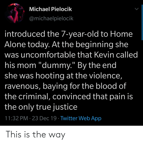 """ravenous: Michael Pielocik  @michaelpielocik  introduced the 7-year-old to Home  Alone today. At the beginning she  was uncomfortable that Kevin called  his mom """"dummy."""" By the end  she was hooting at the violence,  ravenous, baying for the blood of  the criminal, convinced that pain is  the only true justice  11:32 PM · 23 Dec 19 · Twitter Web App This is the way"""