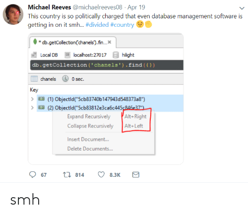 "alt-right: Michael Reeves @michaelreeves08 Apr 19  This country is so politically charged that even database management software is  getting in on it smh-#divided #country  db.getCollection(chanels).fn..  Local DB  db.getCollection (' chanels').find ())  localhost:27017  hilight  chanels  0 sec.  Key  (1) Objectld""5cb83740b 147943d548373a8"")  (2) Objectld(""5cb83812e3ca6c445246e37  Expand Recursively Alt-Right  Collapse RecursivelyAlt+Left  Insert Document..  Delete Documents...  67  814  8.3K smh"