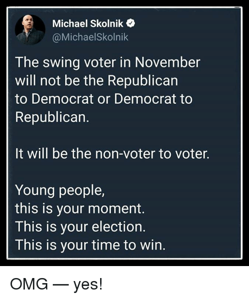 Memes, Omg, and Michael: Michael Skolnik  @MichaelSkolnik  The swing voter in November  will not be the Republican  to Democrat or Democrat to  Republican.  It will be the non-voter to voter.  Young people,  this is your moment.  This is your election.  This is your time to win. OMG — yes!